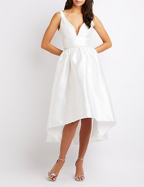 8932c8aa64 V-Neck High-Low Skater Dress at Charlotte Russe in Camarillo