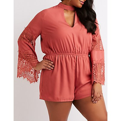 Plus Size Mock Neck Lace-Inset Romper