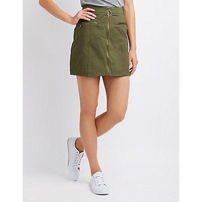 Corduroy Zip-Up Skirt