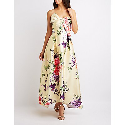 Floral Strapless Pleated Maxi Dress