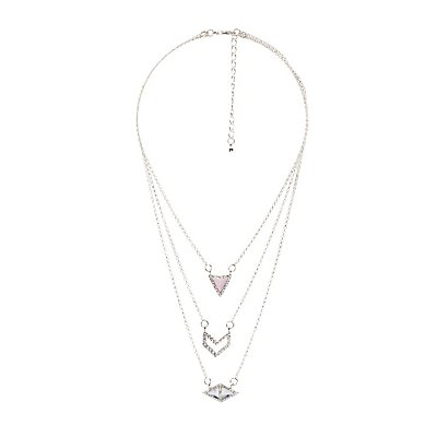Crystal & Stone Pendant Layering Necklaces