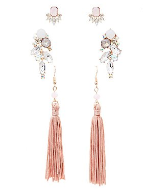 Holographic Crystal & Tassel Earrings - 3 Pack
