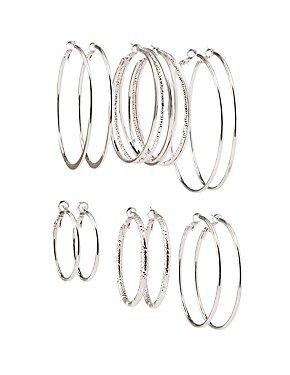 Metal Hoop Earrings - 6 Pack