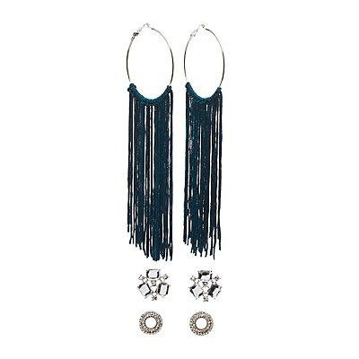 Embellished Stud & Tassel Hoop Earrings - 3 Pack