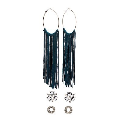 Embellished Stud & Tassel Hoop Earrings - 3 Pack