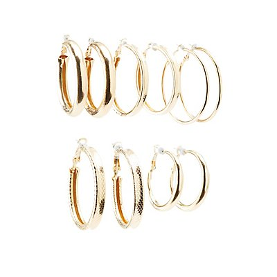 Textured Hoop Earrings - 6Pack