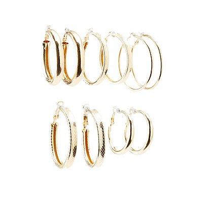 Textured Hoop Earrings - 6Pack