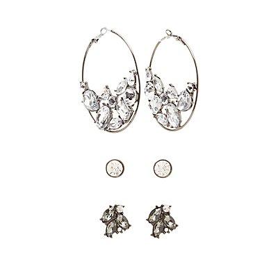 Crystal Stud & Hoop Earrings