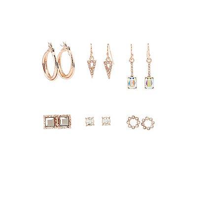 Crystal Embellished Earrings - 6 Pack
