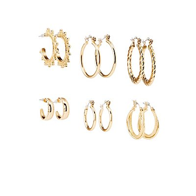 Embellished Hoop Earrings - 6 Pack
