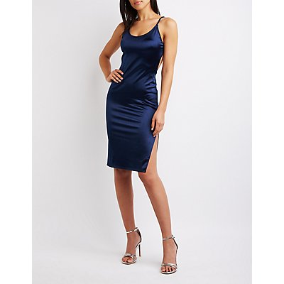 Satin Open-Back Bodycon Dress
