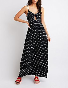 Polka Dot Cot-Out Maxi Dress