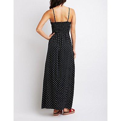 Polka Dot Cot-Out Maxi Dress