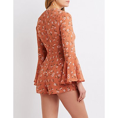 Floral Lace-Up Romper