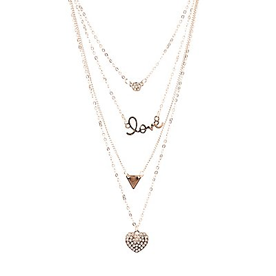 Love Pendant Layering Necklace