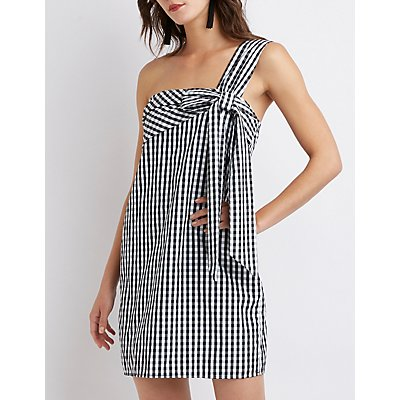 Gingham One Shoulder Dress