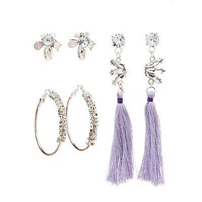 Holographic Crystal & Tassel Earrings - 3 Pack