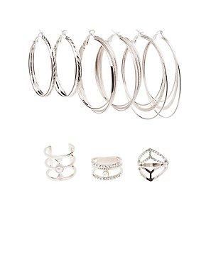 Caged Rings & Hoop Earrings Set