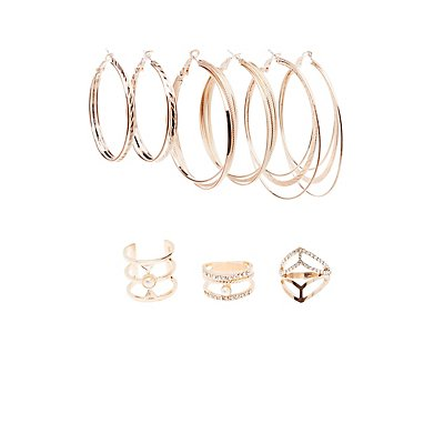 Caged Rings & Hoop Earrings Set