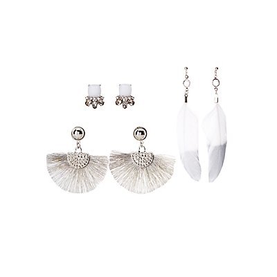 Faux Feather & Embellished Earrings - 3 Pack