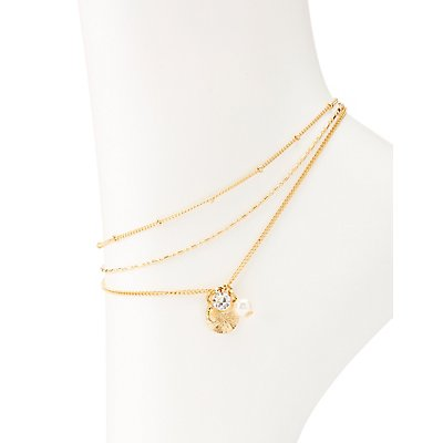 Faux Pearl & Crystal Anklet Set