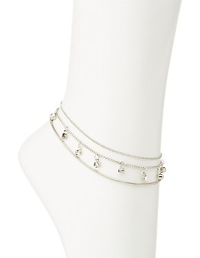 Crystal & Chain Anklet Set