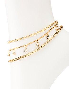 Crystal & Chain Anklet Set