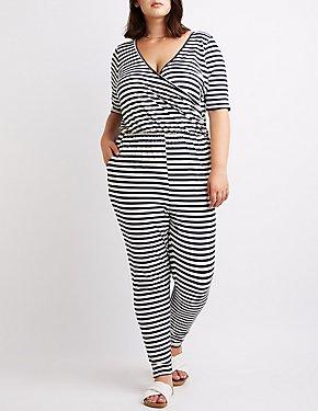 Plus Size Striped Surplice Jumpsuit
