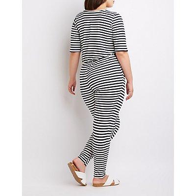 Plus Size Striped V-Neck Jumpsuit