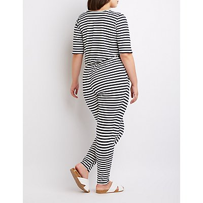 Plus Size Striped V-Neck Jumpsuit