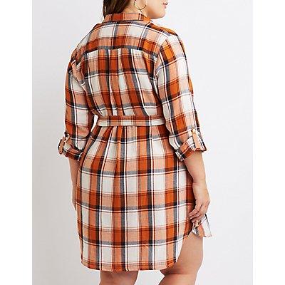 Plus Size Plaid Button-Up Shirt Dress