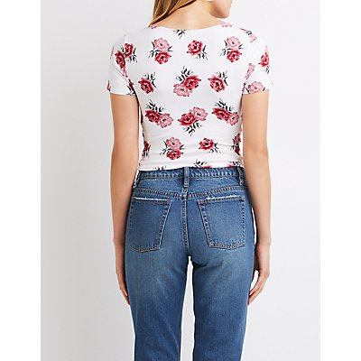 Floral Caged Crop Top