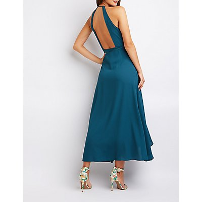 Ruffle Wrap High Low Maxi Dress