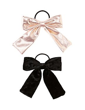 Metallic Bow Detailed Hair Ties - 2 Pack