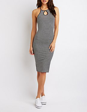 Striped Keyhole Midi Bodycon Dress