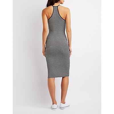 Striped Keyhole Midi Bodycon Dress