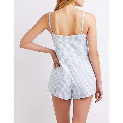 Gingham Bow Detailed Romper