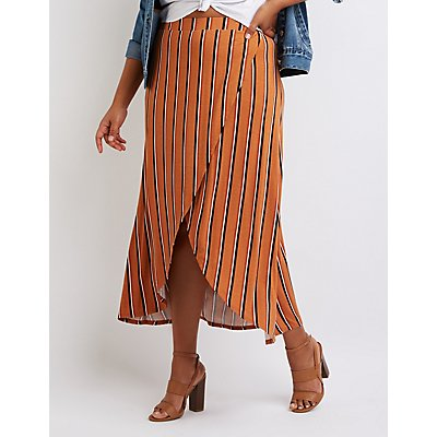Plus Size Striped Wrap Maxi Skirt