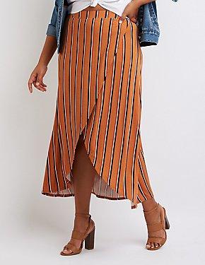 Plus Size Striped Wrap Maxi Skirt