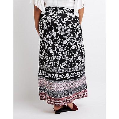 Plus Size Border Print Maxi Wrap Skirt