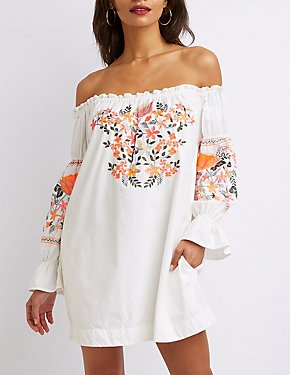 Off-The-Shoulder Embroidered Shift Dress