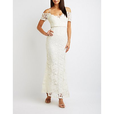 Lace Cold Shoulder Maxi Dress