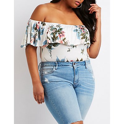 Plus Size Floral Off The Shoulder Bodysuit