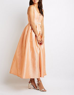 Rhinestone Pleated Maxi Dress