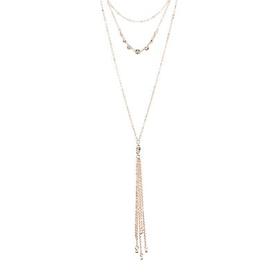 Crystal Layered Tassel Necklaces
