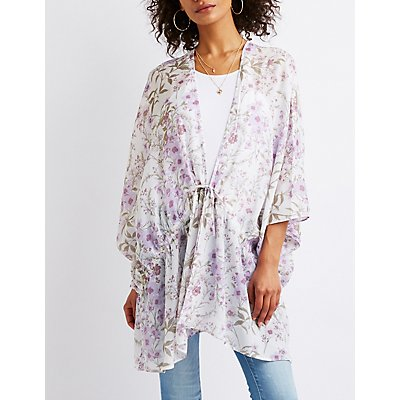 Floral Tie Front Tunic Top