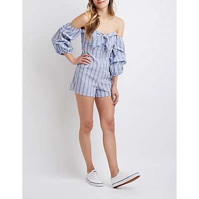 Pintuck Sleeve Off The Shoulder Romper
