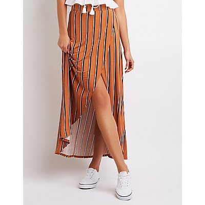 Striped Maxi Wrap Skirt