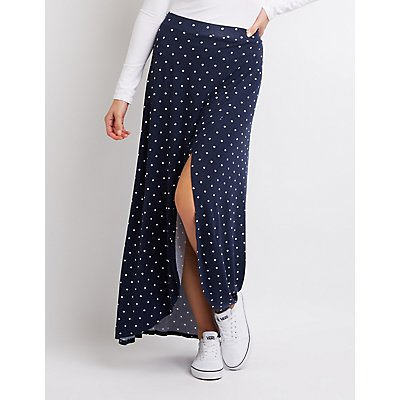 Polka Dot Wrap Maxi Skirt by Charlotte Russe
