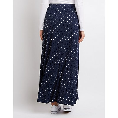 Polka Dot Wrap Maxi Skirt
